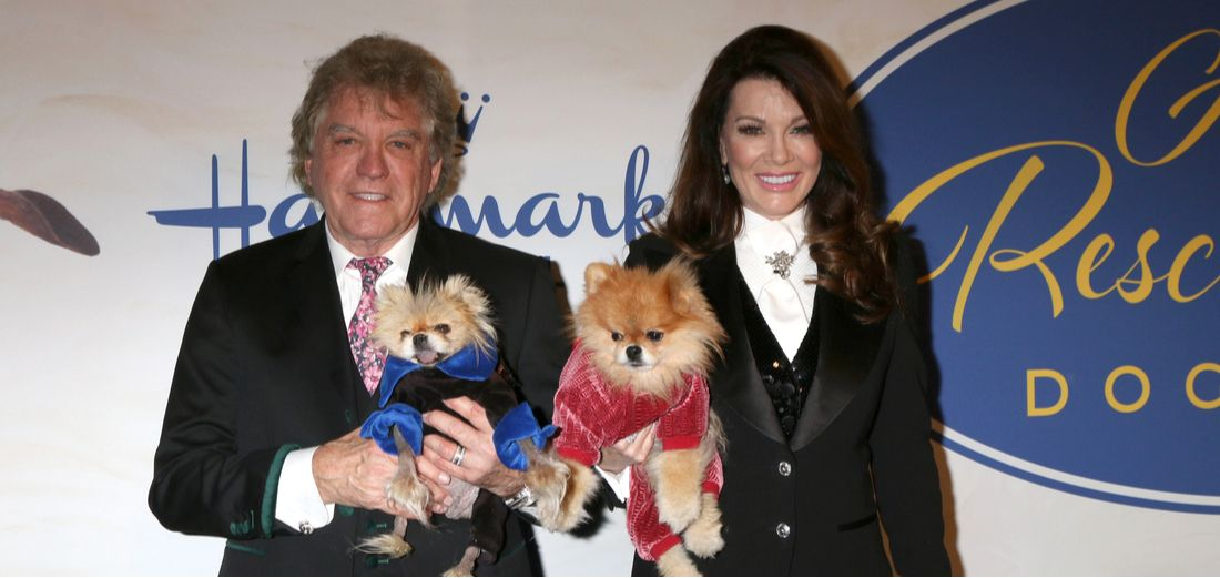 Lisa Vanderpump and husband Ken with their pair of Pomeranians.